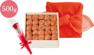 花ふきん包みうす塩味梅干 木箱500g