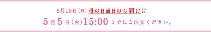 5月10日(日)母の日当日のお届けは5月5日(火)までにご注文ください。