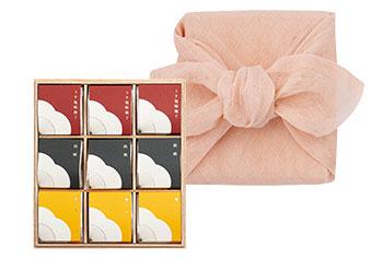 花ふきん包みセット個包装(9粒入木箱)