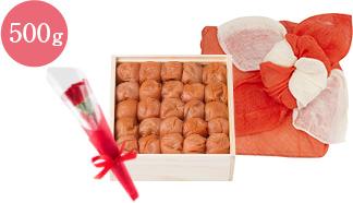 うす塩味梅干花咲く花ふきん包みセット